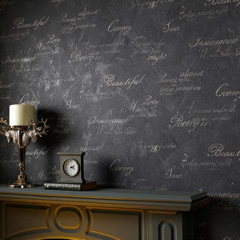 wallpaper for walls with writing graham brown concrete script charocal 52cm x 10m wallpaper