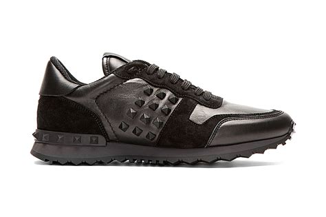 studded sneakers valentino black leather and suede studded sneakers hypebeast