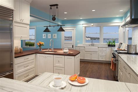 Blue Kitchen Walls White Cabinets Blue Walls In Kitchen Kitchen Contemporary With Kitchen Island Light Kitchen Island Light Linear