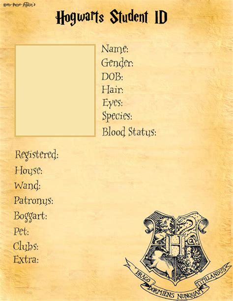 Card Template Hermine by Hogwarts Student Id Base By Harry Potter Addict