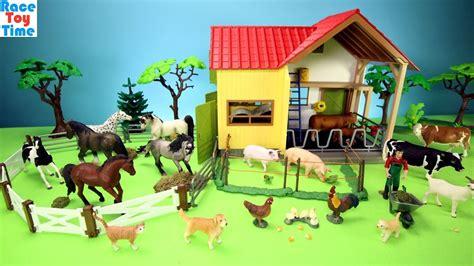 horse stable  farm animals barn toys  kids learn