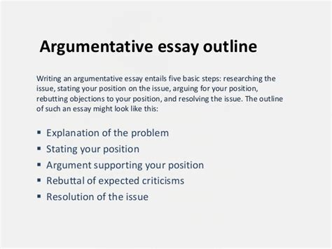 What Is An Outline In An Essay by Argumentative Essay Outline
