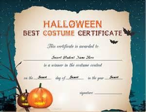 Halloween Costume Certificate Template Halloween Best Costume Certificate Templates Word