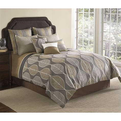 branson 9 or 10 piece comforter set in grey and tan 6429x