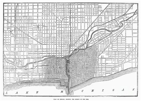 chicago 1871 map chicago map 1871 by granger