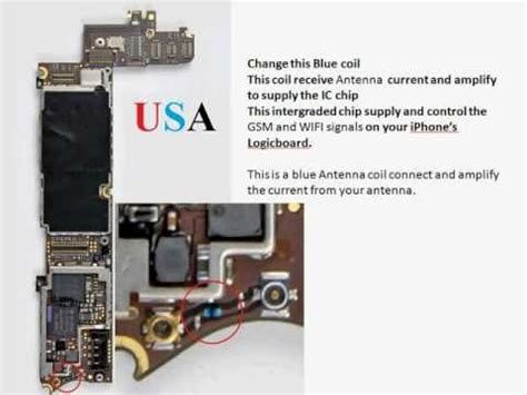 blue inductor coil iphone 4 no signal fix blue inductor coil repair apple part cyberdoctormd