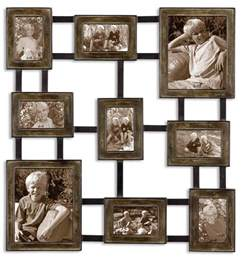 brown grid photo collage contemporary picture metal wall