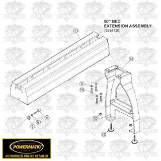 Powermatic 6294726b 50 Quot Bed Extension For Model 3520