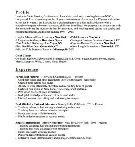 Resume For Hairstylist by 8 Hair Stylist Resume Templates To Sle Templates
