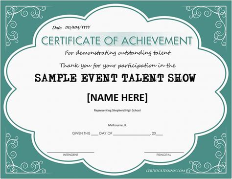 talent show certificate template for word document hub