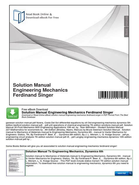 Engineering Mechanics Dynamics solution manual engineering mechanics ferdinand singer