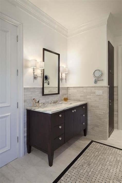 half bathroom tile ideas halhf tile wall with vanity tiled border espresso