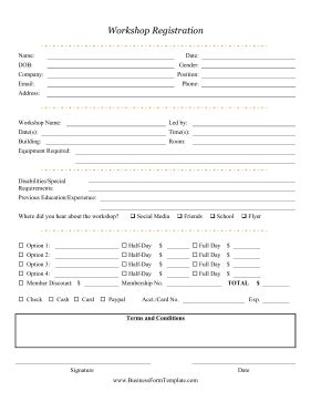 sle workshop registration form template format of registration form for workshop images