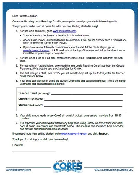Parent Letter Lexia Lexia Resources For Parents