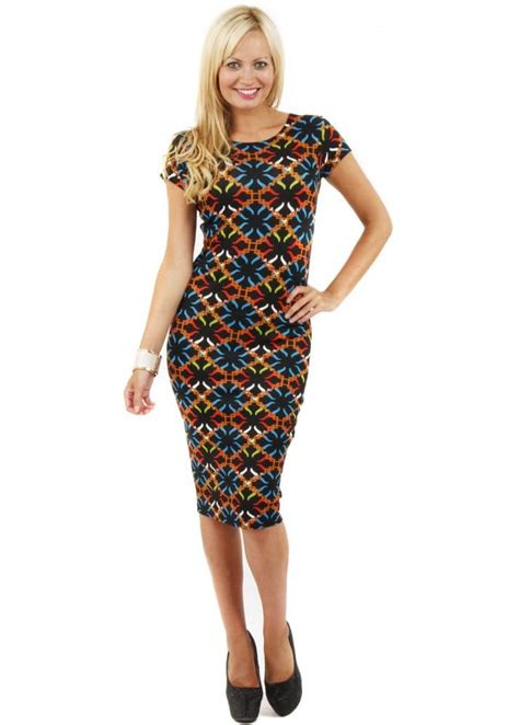 geo patterned jersey dress printed midi dress stretch pencil dress shop midi dresses