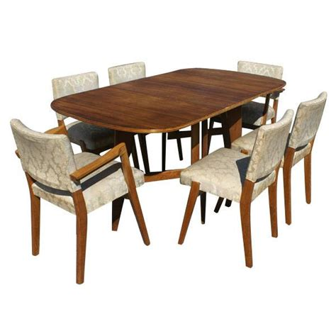Dining Table With 6 Chairs Scandinavian Dining Set 6 Chairs Drop Leaf Table Mr7320 Ebay