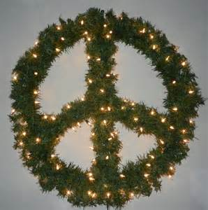 christmas peace sign wreath winter decoration with lights