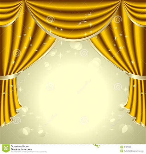Curtains Modern Print Background With Gold Drapes Stock Vector Illustration