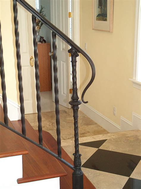 Antique Stairs Design Antique Black Wrought Iron Stair Railing With Solid Brown Wood Tread And Minimalist Flat Style