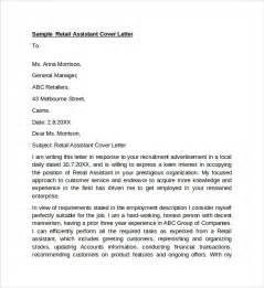 Retail Assistant Manager Cover Letter by Sle Retail Cover Letter Template 9 Free Documents In Pdf Word