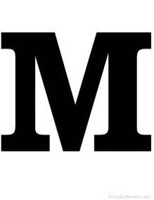 Printable letter m silhouette print solid black letter m