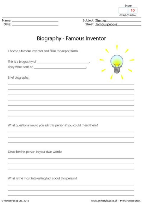 biography sheets for students biography famous inventor primaryleap co uk