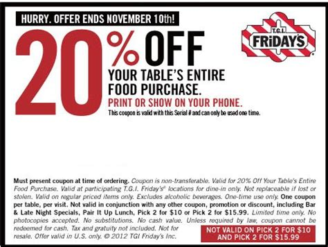 Tgif Gift Card Discount - tgi fridays coupons 12 appetizers free refills