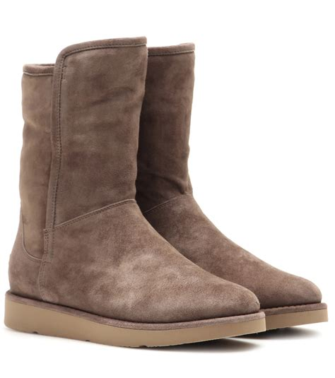 ugg abree boots lyst ugg abree leather ankle boots in brown