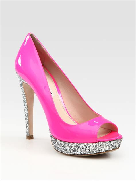 miu miu glitter patent leather peep toe platform pumps  pink black lyst