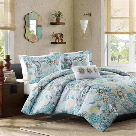 Teal Bed Set by Beautiful Blue Teal White Aqua Yellow Floral Bright