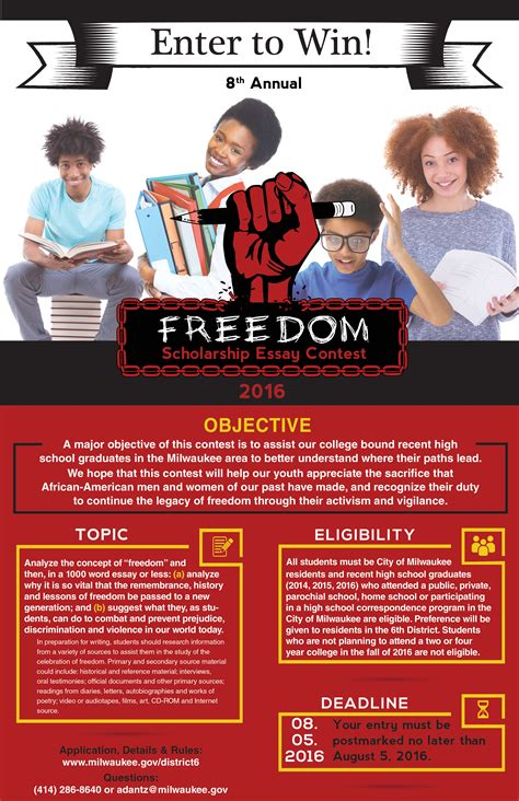 Essay Sweepstakes - deadline for freedom scholarship essay contest is one month away 187 urban milwaukee