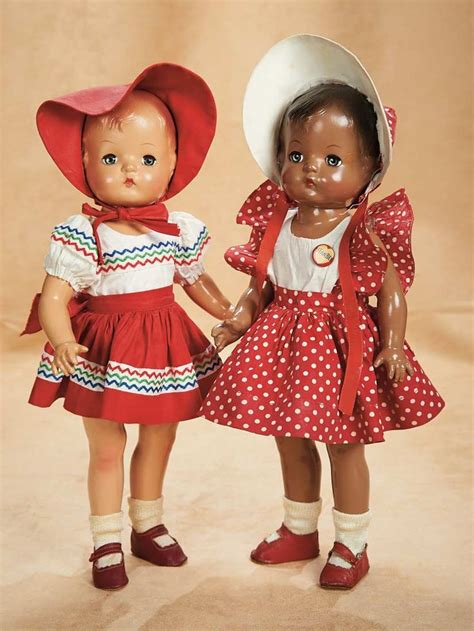 black doll and white doll effanbee 2 all original patsy joan dolls 1946 theriault