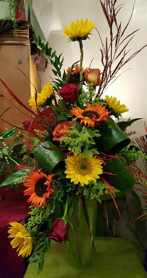 Sun Flower Overall 1 autumn flowers beautiful fall arrangment of yellow and orange sunflowers roses etc in