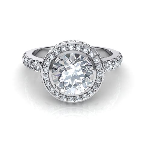 shared prong halo engagement ring