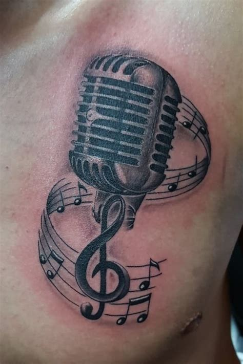 microphone tattoos designs notes and microphone design by akadrowzy