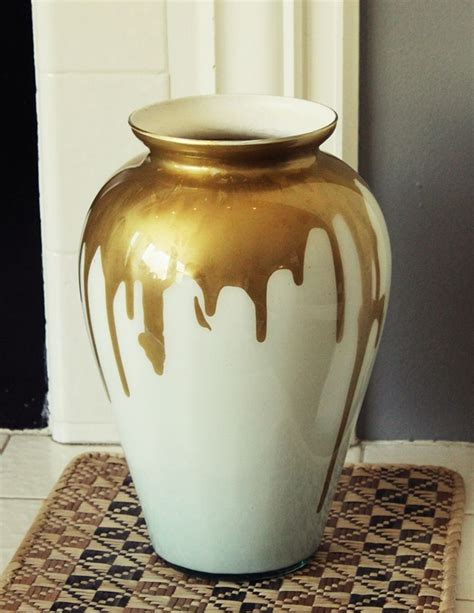 diy paint drip milk glass vase