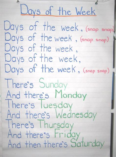 week song days of the week family song kinder songs and