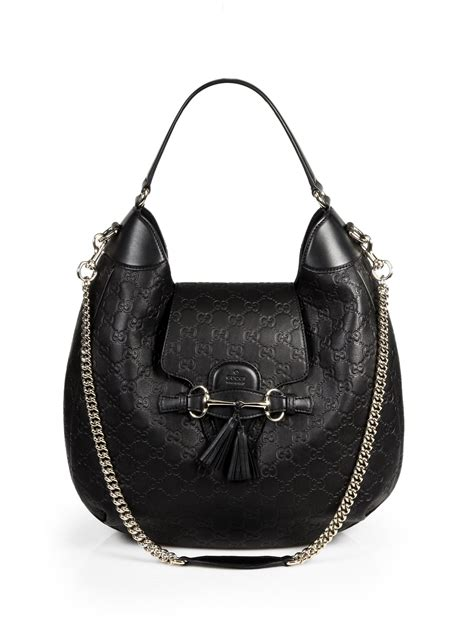 Gucci Leather 2 lyst gucci emily leather hobo in black