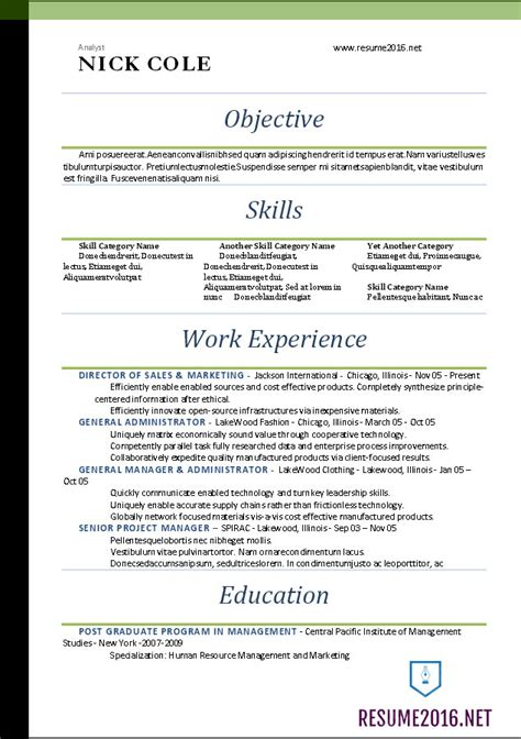 Word Resume Templates 2016 Standard Resume Template