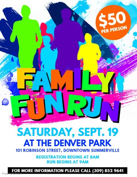 Family Fun Run Flyer Template Postermywall Color Run Flyer Template