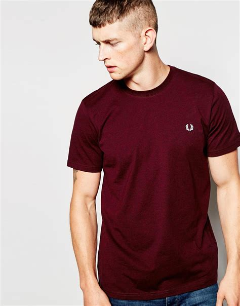 Fred Perry T Shirt fred perry t shirt in crew neck mahogany in purple for