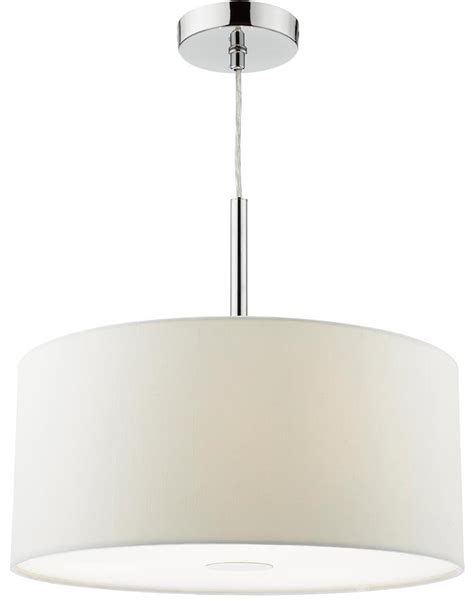 Dar Ronda 40cm White Drum Shade 3 Light Pendant With Pendant Light With Diffuser