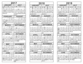 three year calendar template 2017 2018 2019 3 year calendar