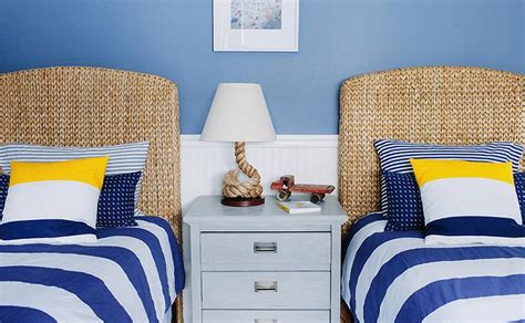 lauren nelson design white and blue striped bedding cottage boy s room