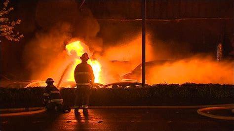 Crews battle stubborn fire at Bellevue Ford dealership