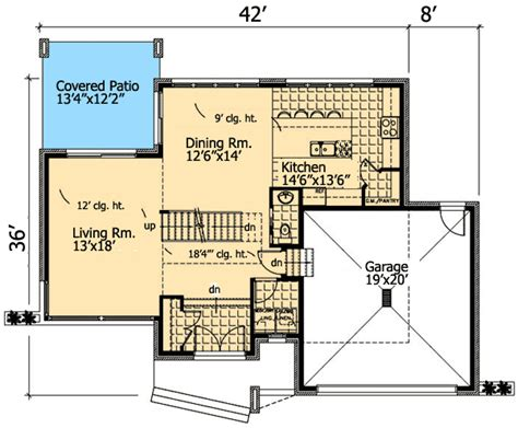 floor plan with roof plan roof deck on contemporary home plan 90231pd