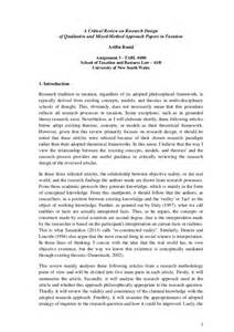 Exles Of Critical Reviews Of Journal Articles Writings by A Critical Review On Research Design Of Selected Journals In Taxation