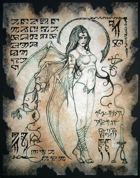 how to draw occult and horror lilith succubus necronomicon page occult magick
