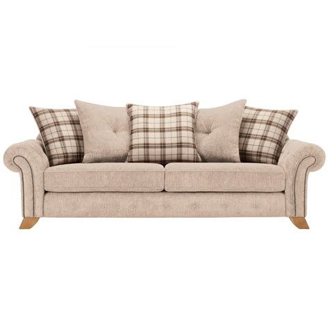 Sofas With Pillows Montana 4 Seater Pillow Back Sofa In Beige Tartan Cushions