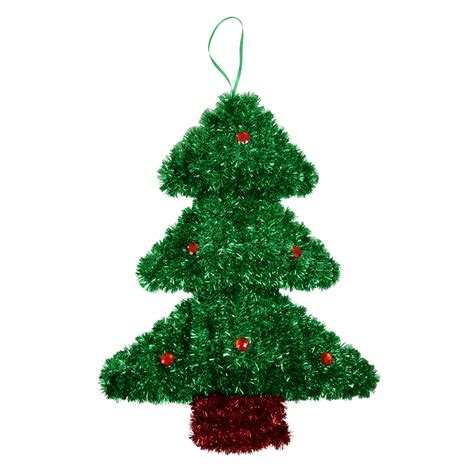 large tinsel christmas wall plaque decoration xmas tree